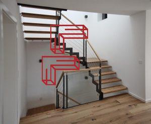 Ferro Stahlwangentreppe! Stahl nach dem Stufenverlauf abgetreppt. Geländer mit Seilfüllung oder Glas! Stufen in Bambus!