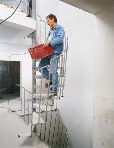 Bautreppe als Stahlspindeltreppe. GS-Geprüft